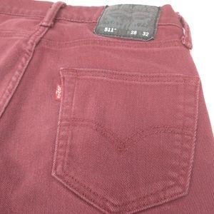 Levi's 511 Maroon Slim Fit Jeans Mens Size 28 x 32